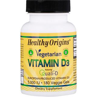 Healthy Origins, Vegetarian Vitamin D3, 5,000 IU, 180 Veggie Gels