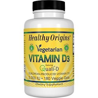 Healthy Origins, ベジタリアン・ビタミンD3、5,000IU、ベジゲル180個