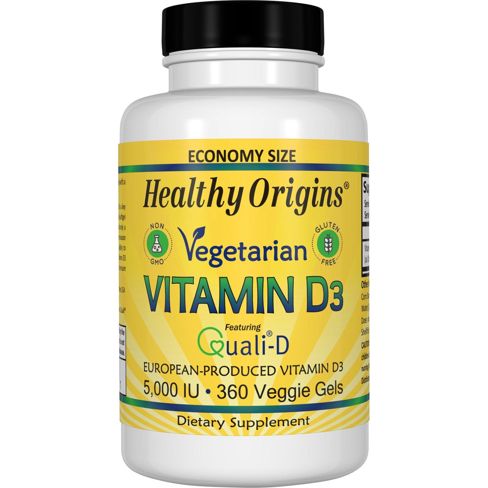 Healthy Origins, Вегетарианский витамин D3, 5000 ЕД, 360 гелей