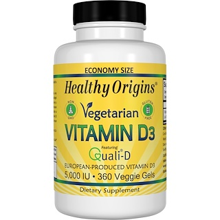 Healthy Origins, 素食維生素D3,5000 IU,360粒素食軟膠囊