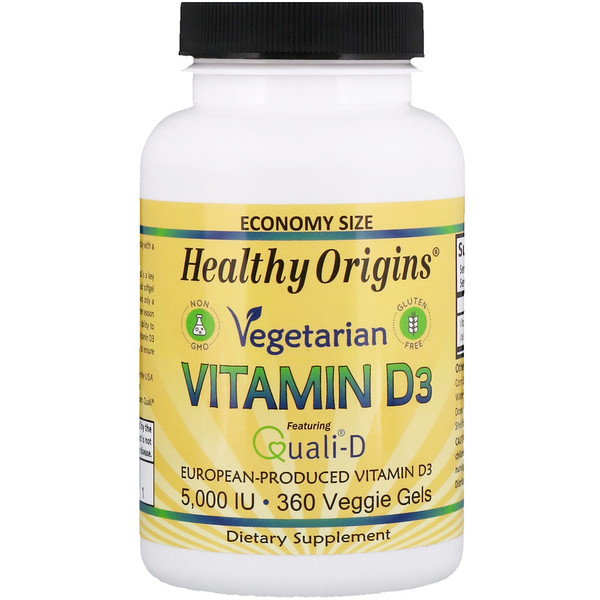Healthy Origins, Vegetarian Vitamin D3, 5,000 IU, 360 Veggie Gels (Discontinued Item)
