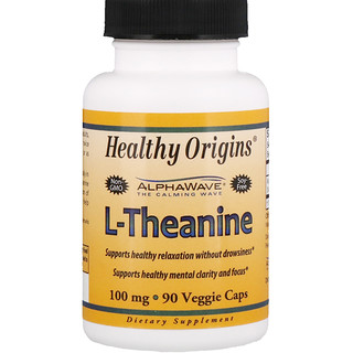 Healthy Origins, L-Theanine, 100 mg, 90 Veggie Caps