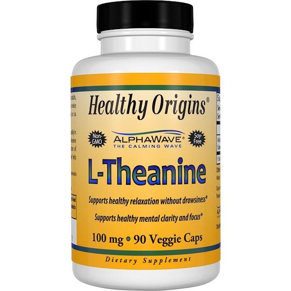 Healthy Origins, L-Theanine, 90 Veggie Caps