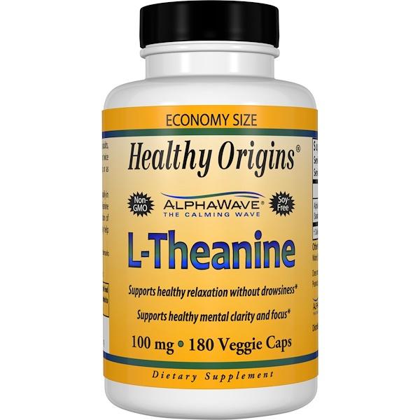 Healthy Origins, L-Theanine, 100 mg, 180 Veggie Caps