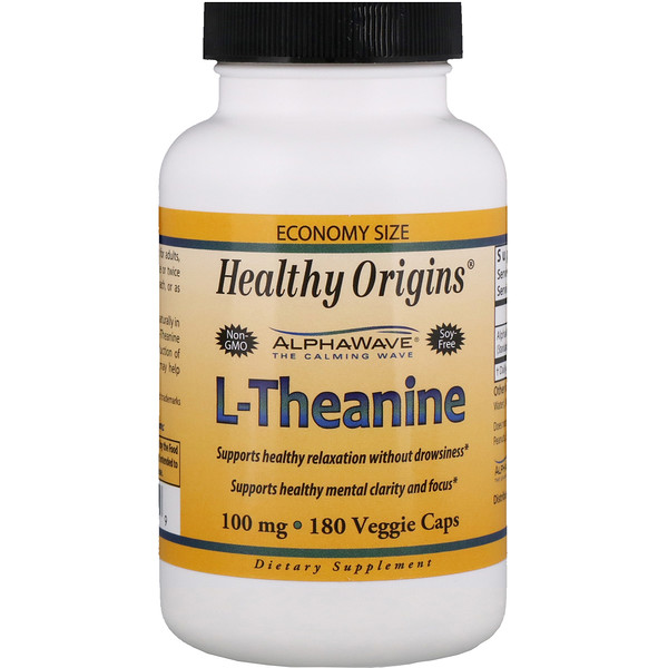 Healthy Origins, L-Theanine, 100 mg, 180 Veggie Caps (Discontinued Item)