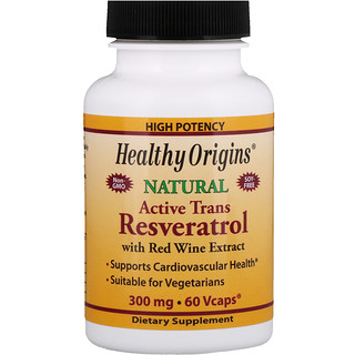 Healthy Origins, Active Trans Resveratrol With Red Wine Extract, 300 mg, 60 Vcaps