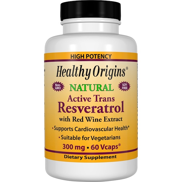 Healthy Origins, Active Trans Resveratrol, with Red Wine Exract, 300 mg, 60 VCaps