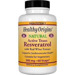 Healthy Origins, Ресвератрол с экстрактом красного вина, 300 мг, 60 вегетарианских капсул инструкция, применение, состав, противопоказания
