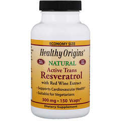 Healthy Origins, Active Trans Resveratrol, with Red Wine Exract, 300 mg, 150 VCaps