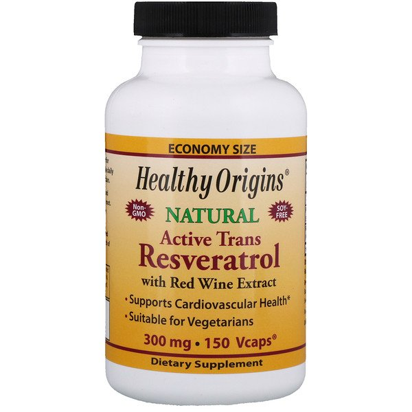 Healthy Origins, Active Trans Resveratrol with Red Wine Extract, 300 mg, 150 Veggie Caps (Discontinued Item)