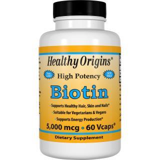 Healthy Origins, Biotin, High Potency, 5,000 mcg, 60 Vcaps