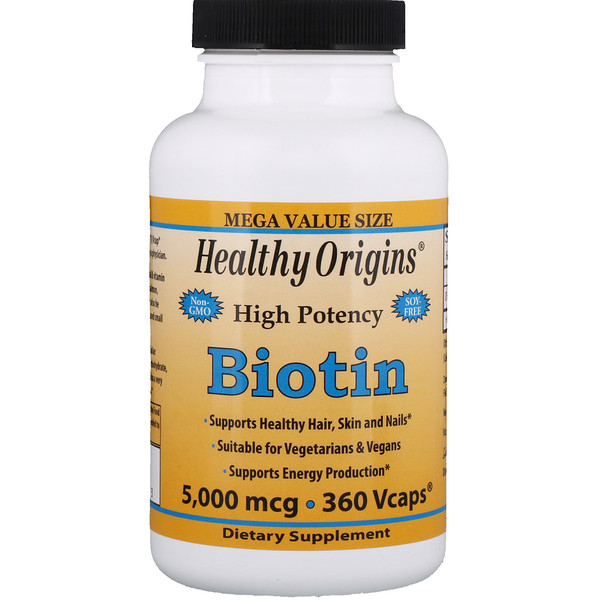 Healthy Origins, Biotin, High Potency, 5000 mcg, 360 Vcaps