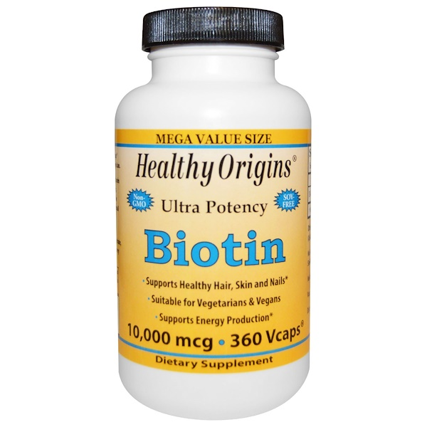 Healthy Origins, Biotin, Ultra Potency, 10,000 mcg, 360 Vcaps