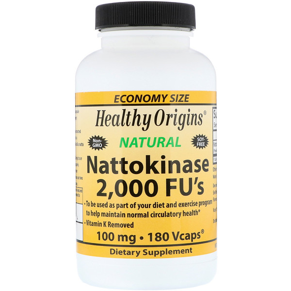 Healthy Origins, Nattokinase 2.000 FU, 100 mg, 180 Cápsulas Vegetais (Discontinued Item)