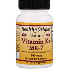 Healthy Origins, Vitamin K2 as MK-7, Natural, 100 mcg, 60 Veggie Softgels
