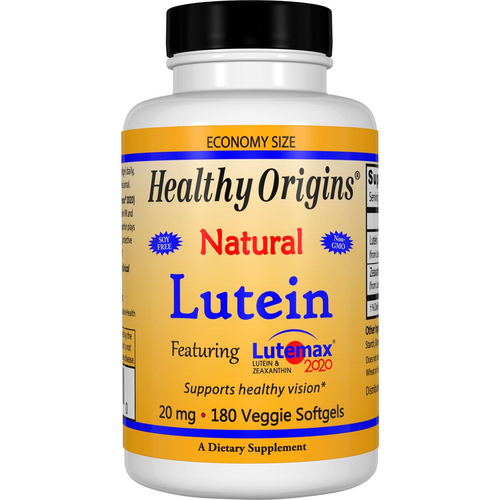 Healthy Origins, Лютеин, натуральный, 20 мг, 180 капсул в растительной оболочке