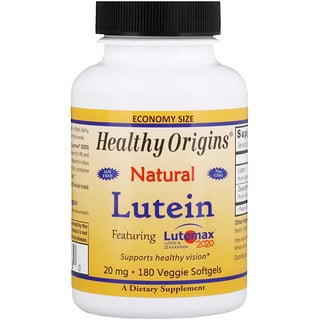 Healthy Origins, Lutein, Natural, 20 mg, 180 Veggie Softgels