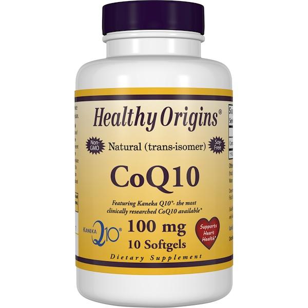 Healthy Origins, CoQ10 Gels (Kaneka Q10), 100 mg, 10 Softgel Capsules
