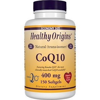 Healthy Origins, CoQ10 Gels, (Kaneka Q10), 400 mg, 150 Softgel Capsules