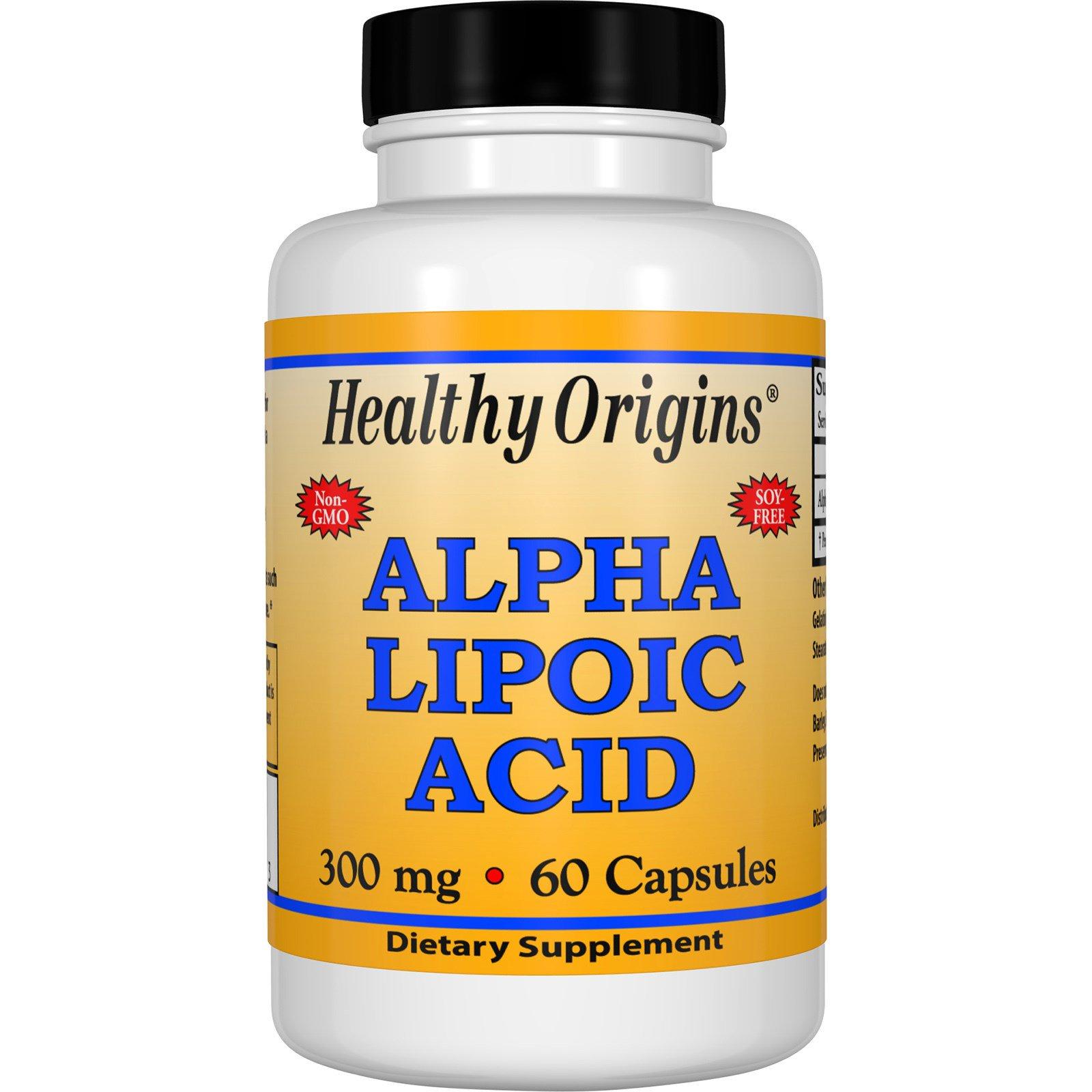 Healthy Origins, Альфа-липоевая кислота, 300 мг, 60 капсул