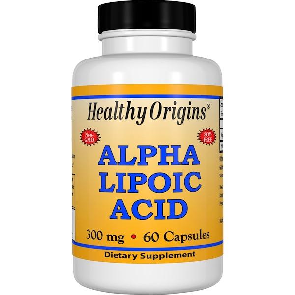Healthy Origins, アルファリポ酸, 300 mg, 60カプセル