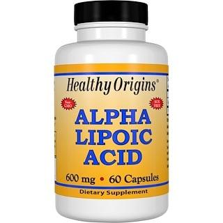 Healthy Origins, αリポ酸, 600 mg, 60カプセル