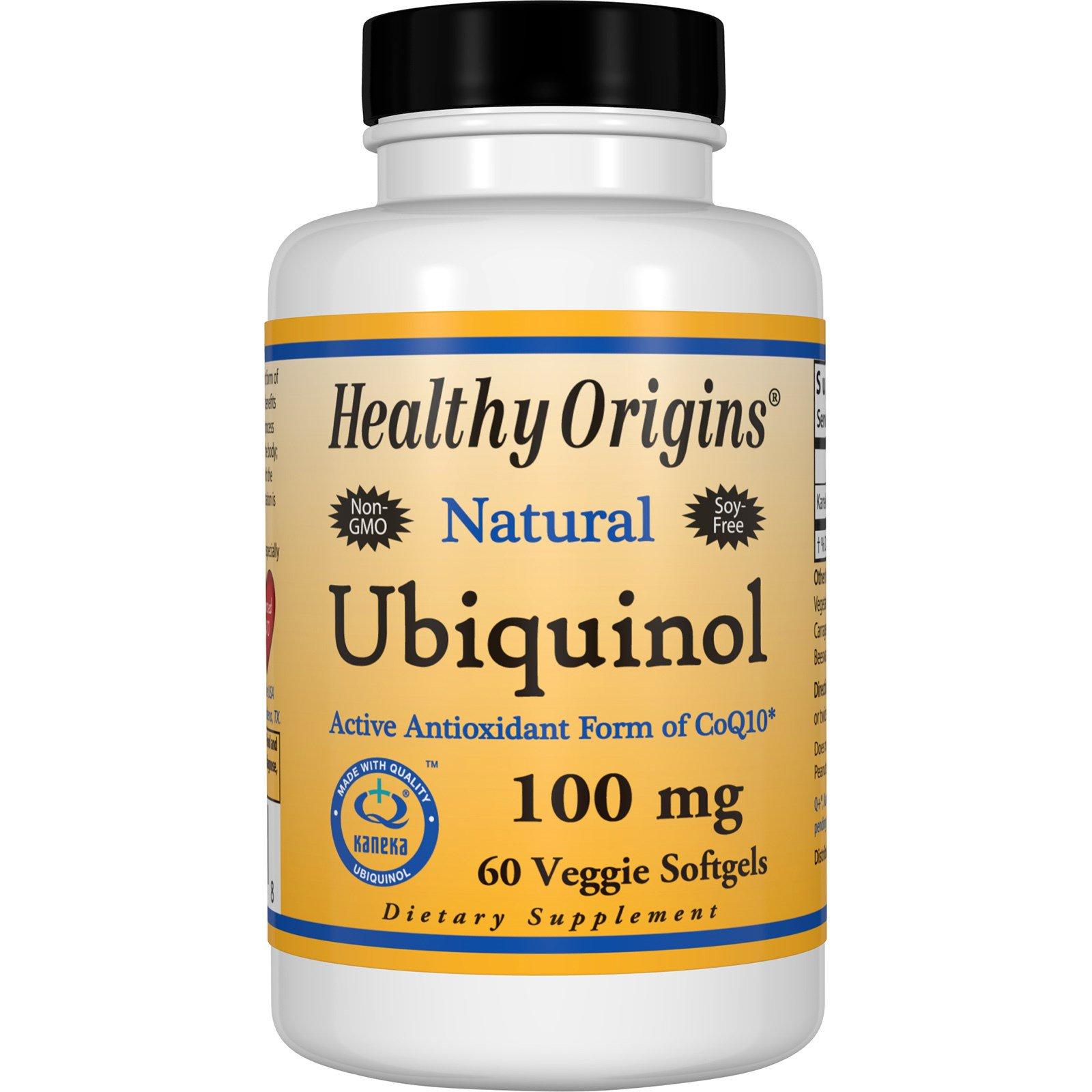 Healthy Origins, Убихинол, натуральный, 100 мг, 60 вегетарианских желатиновых капсул