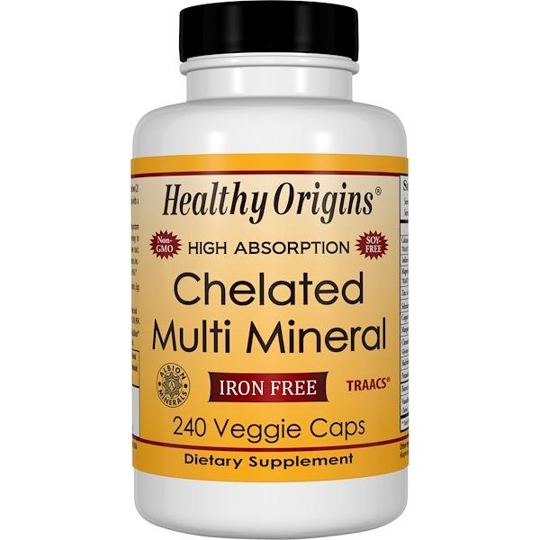 Healthy Origins, 螯合多種礦物,無鐵,240素食膠囊