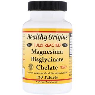 Healthy Origins, マグネシウム・ビスグリシン・キレート、120錠