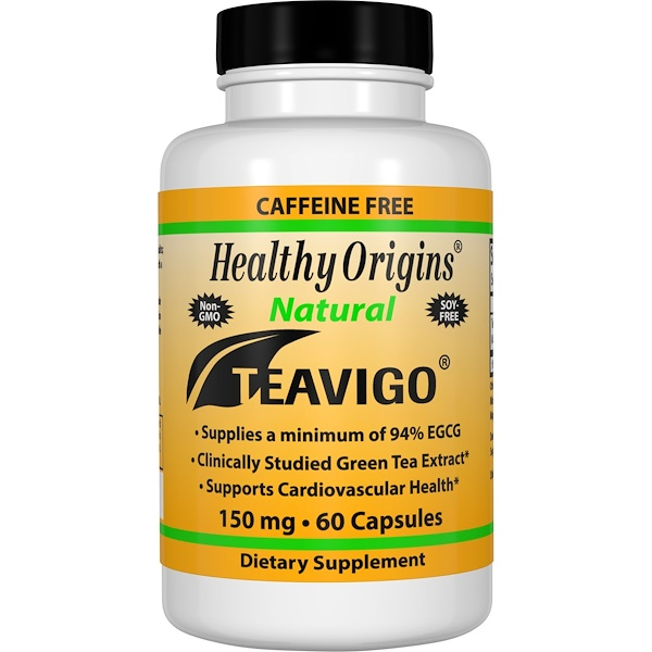 Healthy Origins, Teavigo, Caffeine Free, 150 mg, 60 Capsules