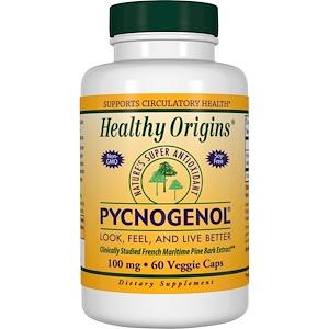 Healthy Origins, Пикногенол, 100 мг, 60 капсул в растительной оболочке инструкция, применение, состав, противопоказания