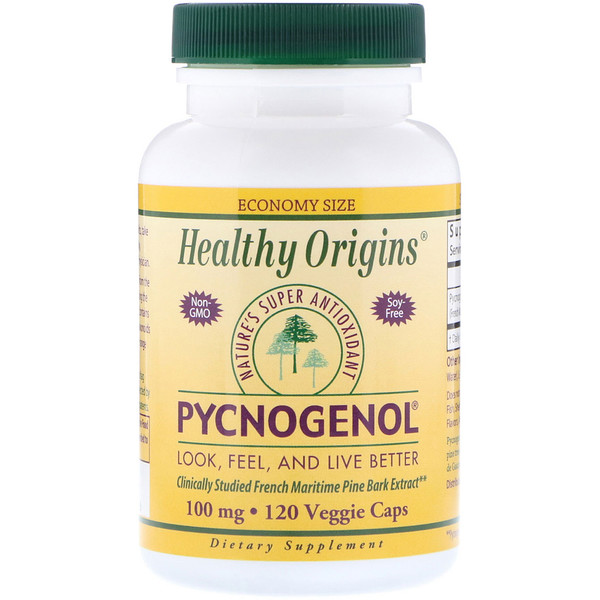 Healthy Origins, Pycnogenol, 100 mg, 120 Veggie Caps (Discontinued Item)