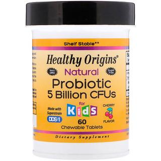 Healthy Origins, Natural Probiotic, for Kids, Cherry Flavor, 5 Billion CFU, 60 Chewable Tablets