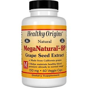 Healthy Origins, Экстракт виноградных косточек MegaNatural-BP, 150 мг, 60 капсул инструкция, применение, состав, противопоказания