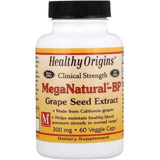 Healthy Origins, MegaNatural-BP Grape Seed Extract, 300 mg, 60 Cápsulas Vegetarianas
