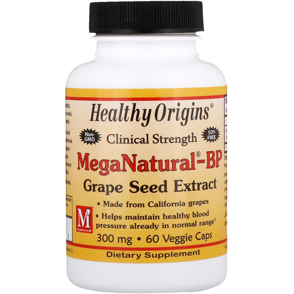 Healthy Origins, MegaNatural-BP Grape Seed Extract, 300 mg, 60 Veggie Caps (Discontinued Item)