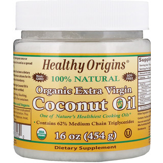 Healthy Origins, Organic Extra Virgin Coconut Oil, 16 oz (454 g)