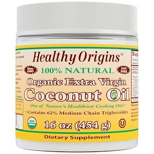 Healthy Origins, Органическое Кокосовое Масло Extra Virgin, 16 унций (454 г) инструкция, применение, состав, противопоказания