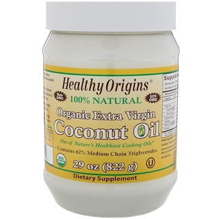 Healthy Origins, 유기농 엑스트라 버진 코코넛 오일, 29 온스 (822 그램)