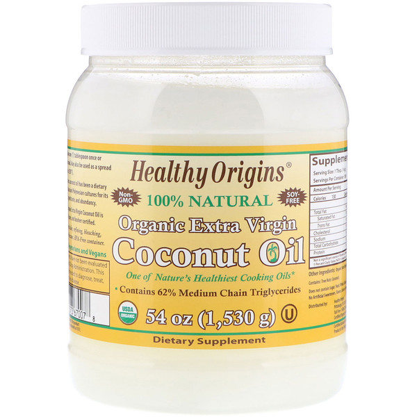 Healthy Origins, Organic Extra Virgin Coconut Oil, 3.37 lbs (1,530 g) (Discontinued Item)