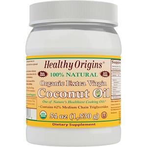Healthy Origins, Органическое кокосовое масло первого отжима, 54 унции (1,503 г) инструкция, применение, состав, противопоказания