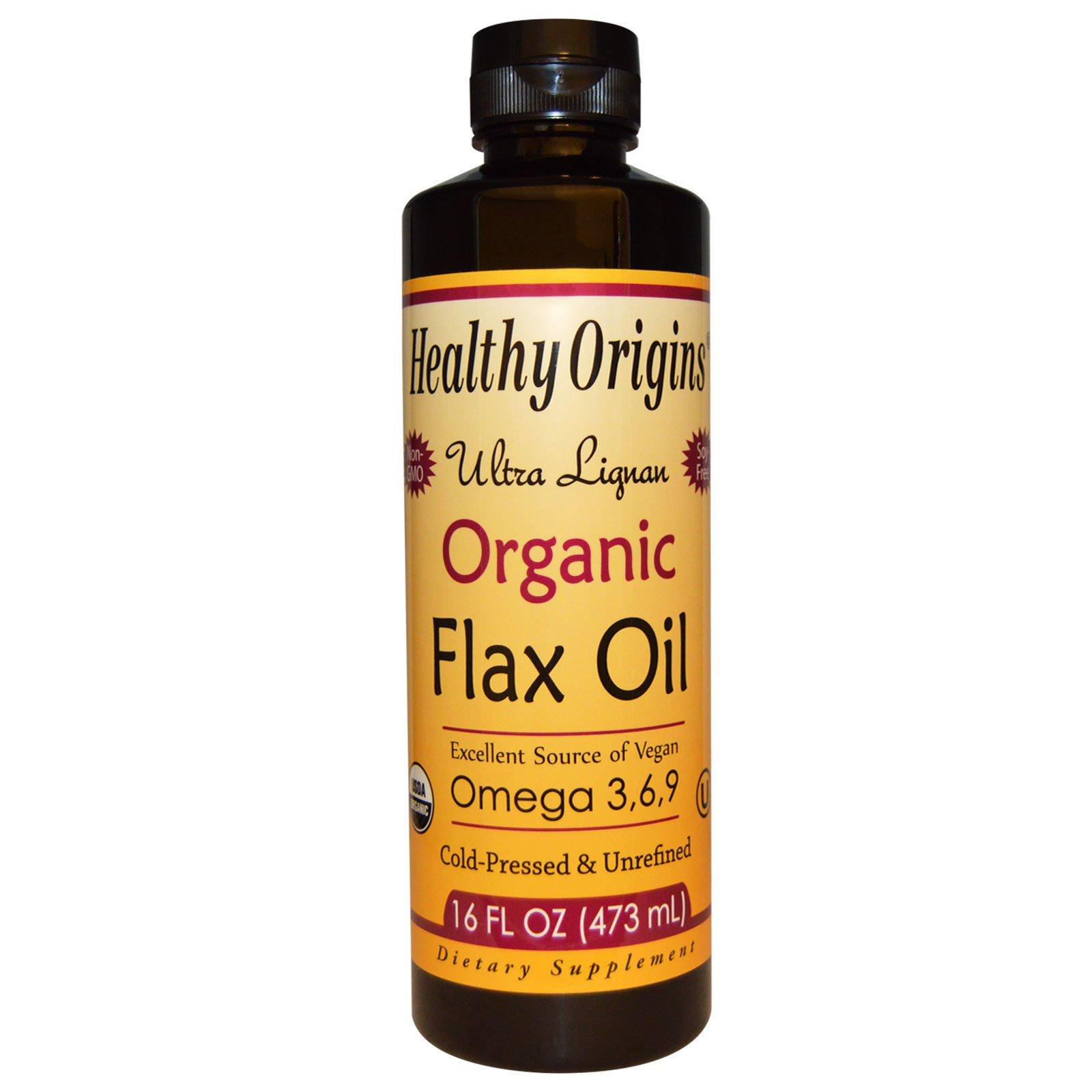 Healthy Origins, Органическое льняное масло с высоким содержанием лигнанов, 16 ж. унций (473 мл)