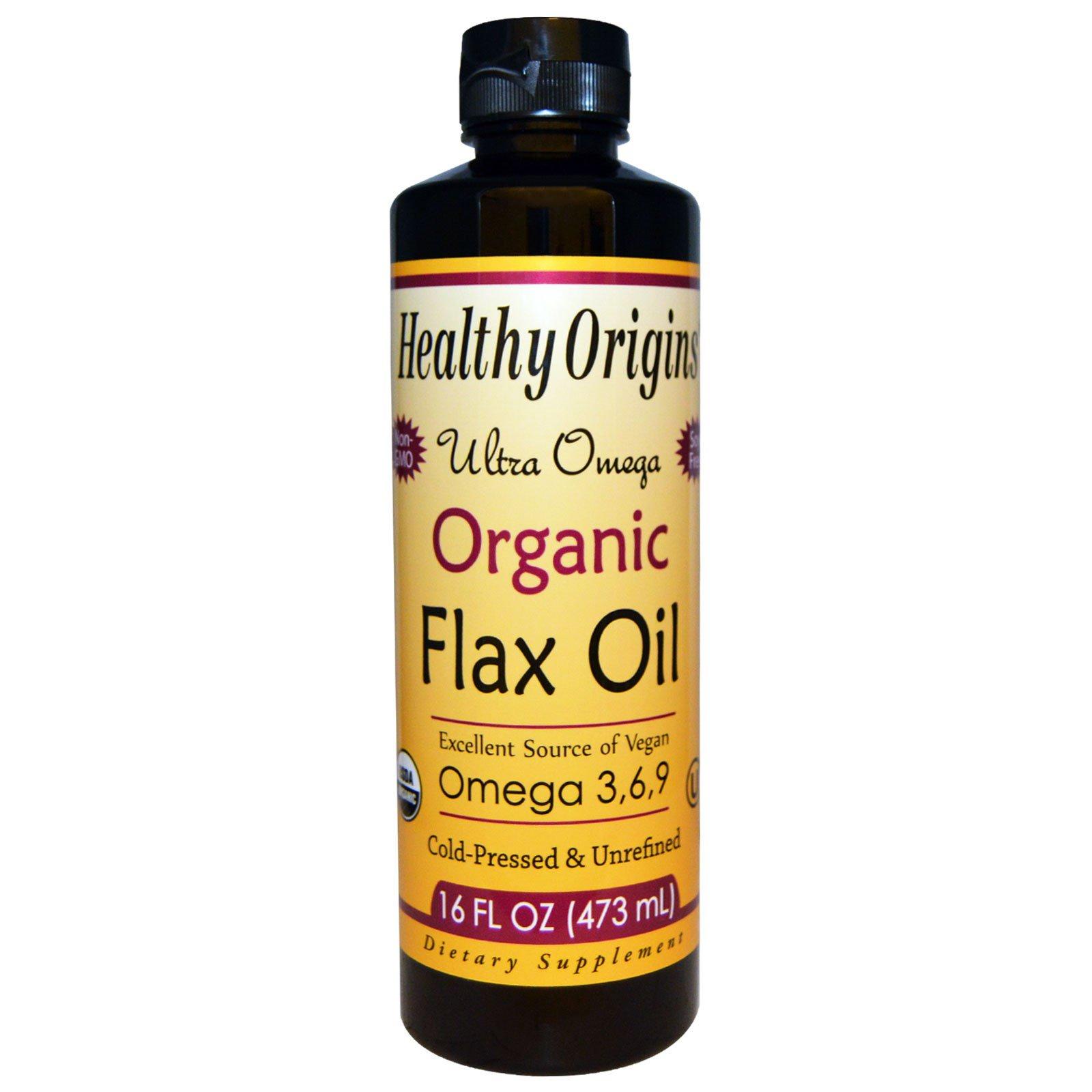 Healthy Origins, Натуральное льняное масло, Ультра омега, 16 жидких унций (473 мл)