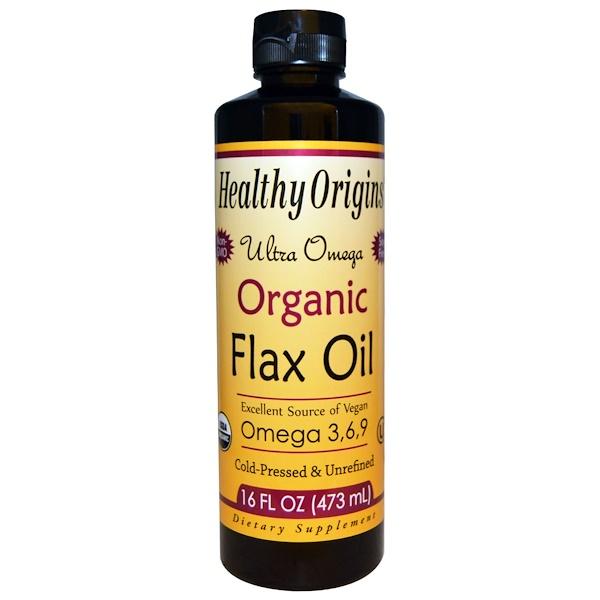 Healthy Origins, Ultra Omega, Organic Flax Oil, 16 fl oz (473 ml)
