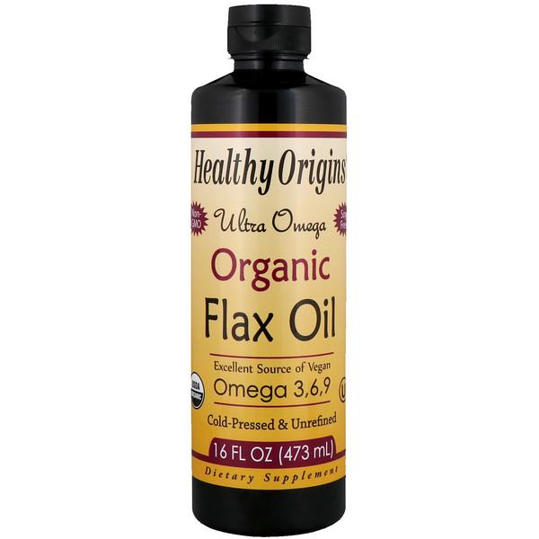 Healthy Origins, オーガニック・フラックスオイル、ウルトラオメガ、16 液量オンス (473 ml)