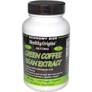 Healthy Origins, Экстракт зеленых кофейных бобов, 400 мг, 120 растительных капсул инструкция, применение, состав, противопоказания