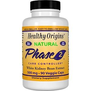 Healthy Origins, Фаза 2, управление углеводами, 500 мг, 90 вегетарианских капсул инструкция, применение, состав, противопоказания