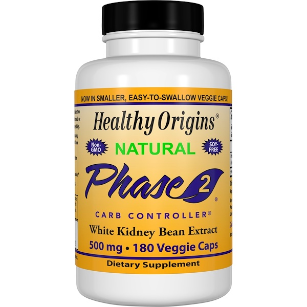 Healthy Origins, Phase 2 Carb Controller, White Kidney Bean Extract, 500 mg, 180 Veggie Caps