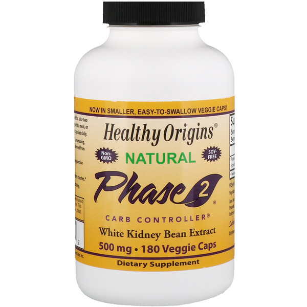 Healthy Origins, Phase 2 Carb Controller, White Kidney Bean Extract, 500 mg, 180 Veggie Caps (Discontinued Item)