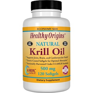 Healthy Origins, Krill Oil, Natural Vanilla Flavor, 500 mg, 120 Softgels
